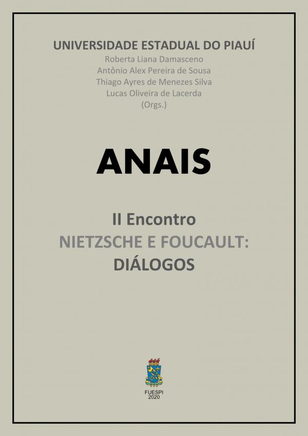 Capa para Anais do II Encontro Nietzsche e Foucault: diálogos