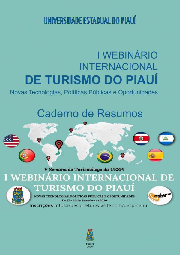 Capa para Caderno de Resumos da V Semana do Turismólogo da UESPI e I Webinário Internacional de Turismo do Piauí: novas tecnologias, políticas públicas e oportunidades