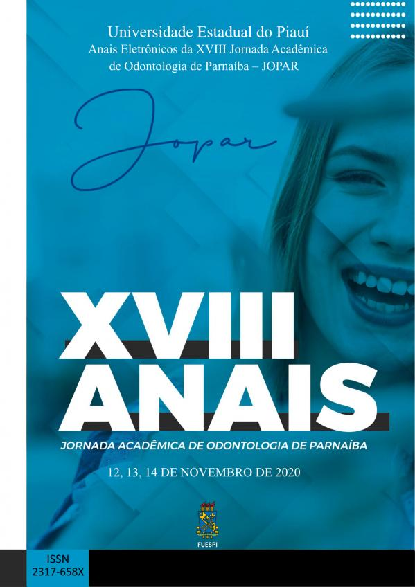 Capa para Anais Eletrônicos da XVIII Jornada Acadêmica de Odontologia de Parnaíba – JOPAR 2020
