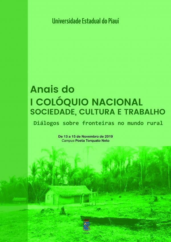 Capa para Anais do  I COLÓQUIO NACIONAL  SOCIEDADE, CULTURA E TRABALHO: Diálogos sobre fronteiras no mundo rural