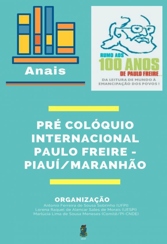 Capa para Anais Pré-Colóquio Internacional Paulo Freire Piauí/ Maranhão